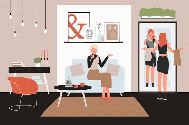 Personaggi femminili che parlano durante lo shopping illustrazione