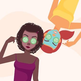 Personaggi femminili con maschera di bellezza facciale cosmetica