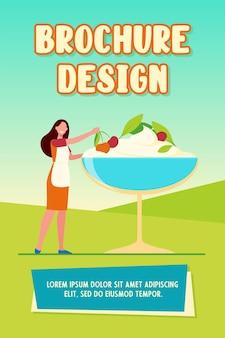 Cuoco unico femminile che cucina modello dell'opuscolo del dessert
