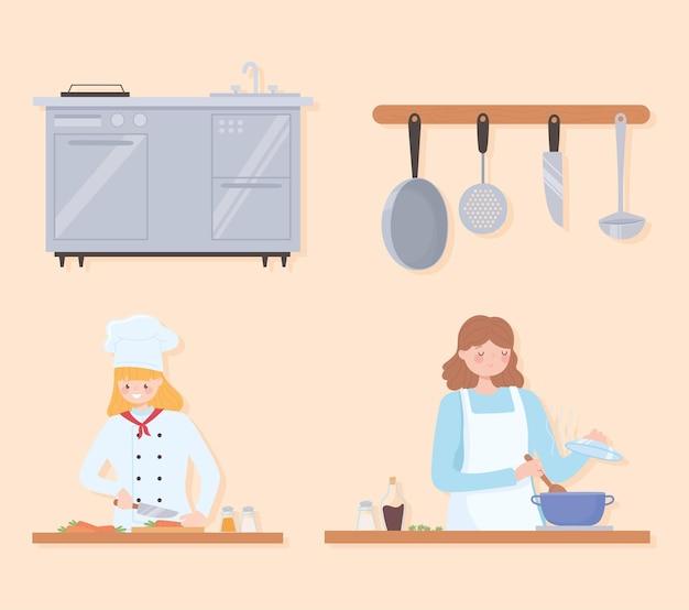 Cuoco unico femminile che indossa l'uniforme tradizionale che lavora nel ristorante o nel caffè, giovane donna che cucina a casa