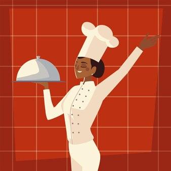 Cuoco unico femminile con l'illustrazione di vettore del ristorante professionale del lavoratore di servizio del piatto Vettore Premium