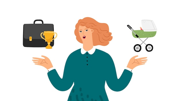 Scelta femminile. donna che sceglie tra famiglia e carriera. la donna di successo fa scegliere responsabile. equilibrio tra vita professionale e genitore, illustrazione vettoriale