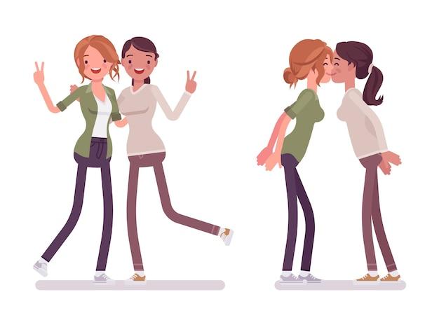 Saluto femminile degli amici stretti