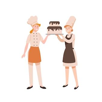 Illustrazione piana dei pasticceri femminili. cucine pastose che tengono torta a due livelli con glassa di cioccolato isolata su bianco