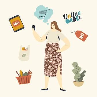 Personaggio cliente femminile scegli le merci utilizzando lo smartphone