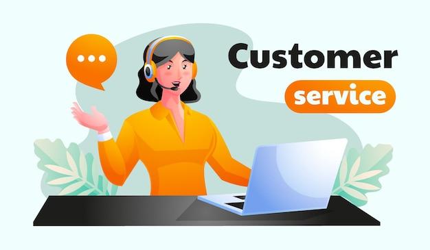 Assistenza clienti femminile che lavora in ufficio rispondendo alle domande dei consumatori