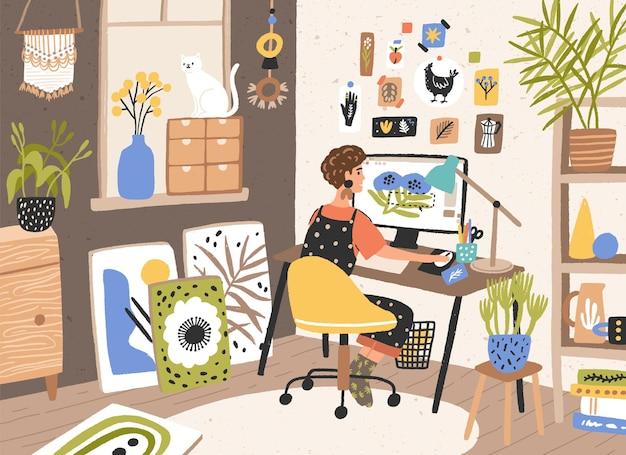 Designer donna, illustratore o lavoratore freelance seduto alla scrivania e lavorare al computer a casa