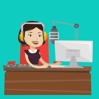 Femmina dj che lavora all'illustrazione radiofonica