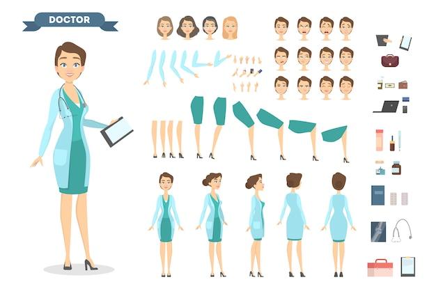 Set di caratteri medico femminile con pose ed emozioni.