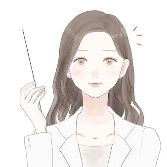 Una dottoressa che tiene in mano un bastoncino di istruzioni e spiega. su uno sfondo bianco.