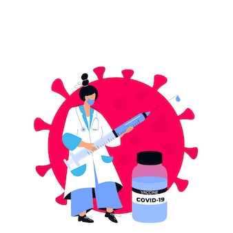 La dottoressa tiene una siringa enorme con il vaccino contro il coronavirus covid-19. campagna vaccinale. è ora di vaccinarsi.