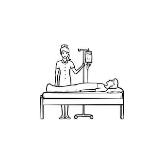 Medico femminile in piedi vicino al letto con icona di doodle di contorno disegnato a mano contatore di goccia. l'infermiera si prende cura del paziente