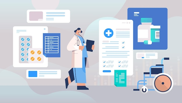 Dottoressa in uniforme azienda appunti medicina concetto di assistenza sanitaria femminile lavoratore ospedale con stetoscopio figura intera illustrazione vettoriale orizzontale