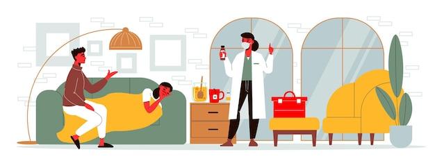 Dottoressa in visita a una casa