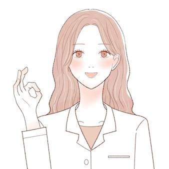 Una dottoressa che firma ok. su uno sfondo bianco.