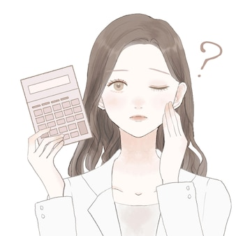 La dottoressa con la calcolatrice, ha dei dubbi. su uno sfondo bianco.