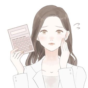Dottoressa con calcolatrice con espressione turbata. su uno sfondo bianco.