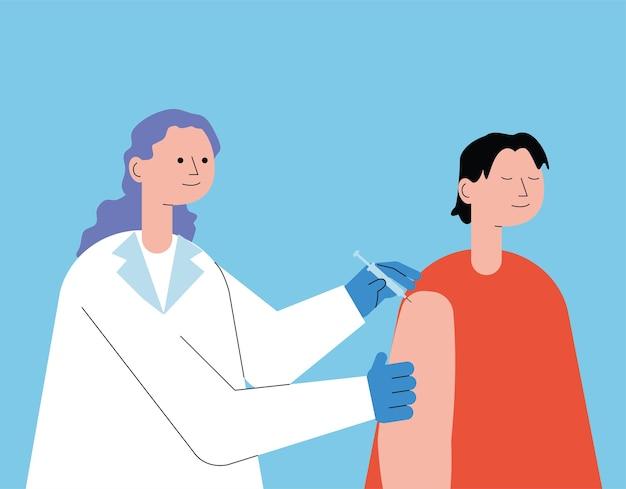Medico femminile con paziente che inietta disegno dell'illustrazione del vaccino