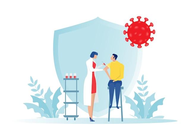 Dottoressa con siringa fa vaccinazioni, medico vaccino sanitario, immunizzazione in illustratore clinica.