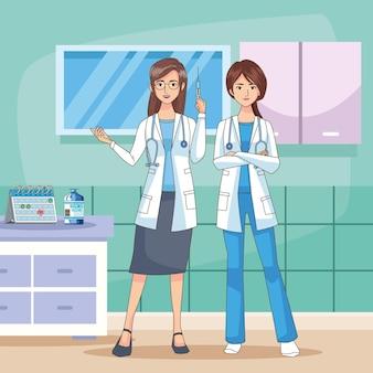 Caratteri femminili dei medici con l'illustrazione della siringa del vaccino