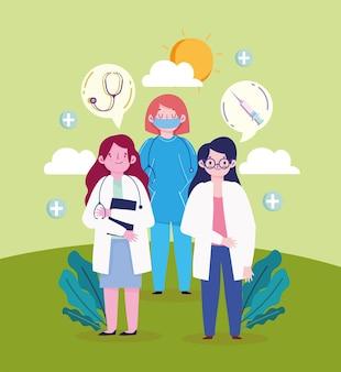 Dottore e infermiere donne