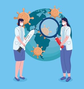 Dottoresse con ricerca di vaccinazione nell'illustrazione del pianeta terra