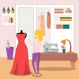 Sarta femminile che cuce vestito rosso elegante per la sua illustrazione del cliente, elemento di progettazione per il manifesto o insegna