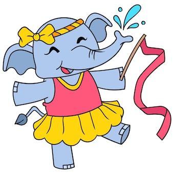 Il vitello dell'elefante femminile balla felicemente il balletto, arte dell'illustrazione di vettore. scarabocchiare icona immagine kawaii.