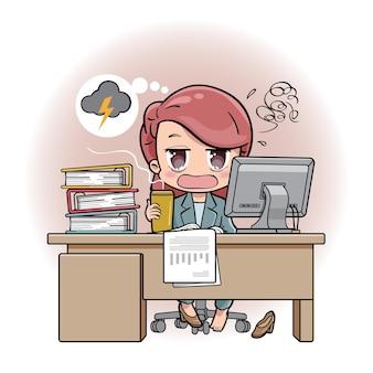 Un impiegato femminile o una donna di affari ha sottolineato ed esaurito