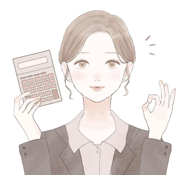 Impiegata di sesso femminile con calcolatrice, segno ok. su uno sfondo bianco. design semplice e carino.