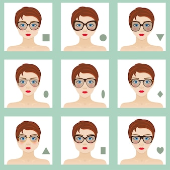 Set di forme del viso femminile. nove icone. ragazze con occhi azzurri, labbra rosse e capelli castani. occhiali adatti a donne diverse. illustrazione colorata.