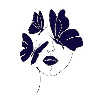 Volto femminile con farfalle nere in stile minimal isolato su sfondo bianco.