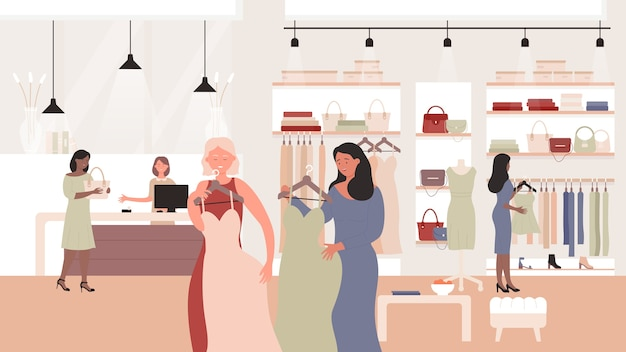 Showroom di negozio di moda femminile con acquirenti di vendita donna