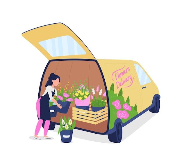 Fiorista femminile che scarica auto con carattere senza volto di colore piatto di fiori
