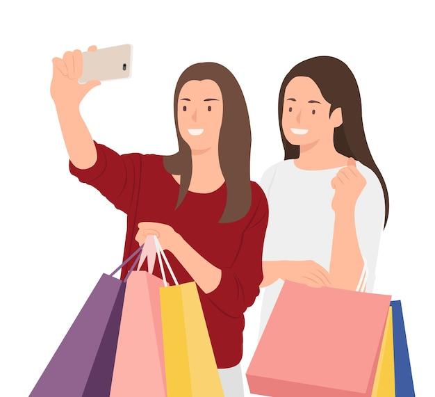 Amiche che fanno shopping e scattano foto selfie