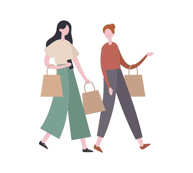 Amici di sesso femminile che parlano durante lo shopping. illustrazione