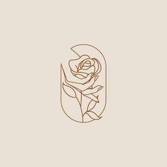 Mano femminile che tiene fiore di rosa logo o icona design isolato su sfondo chiaro