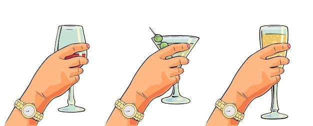 Mano femminile che tiene un bicchiere di vino cocktail champagne colore vettoriale piatto