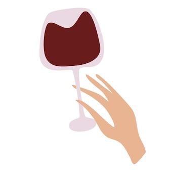 Mano femminile che tiene un bicchiere di vino rosso. bevanda alcolica. concetto di amante del vino. Vettore Premium