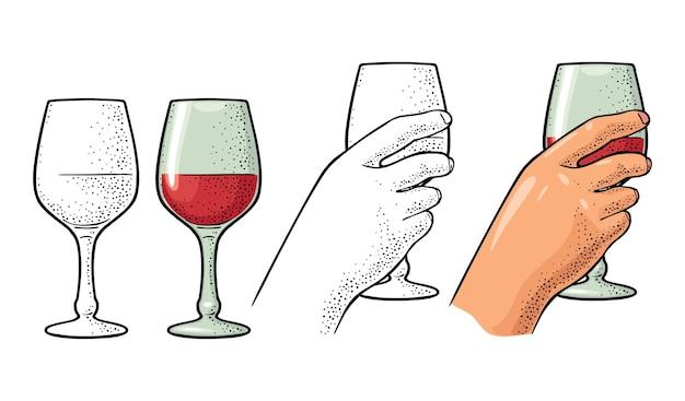 Mano femminile che tiene un bicchiere di vino incisione vettoriale vintage