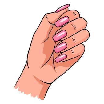 Mano femminile con una manicure completata. unghie dipinte. illustrazioni vettoriali in stile cartone animato per il design e la decorazione.