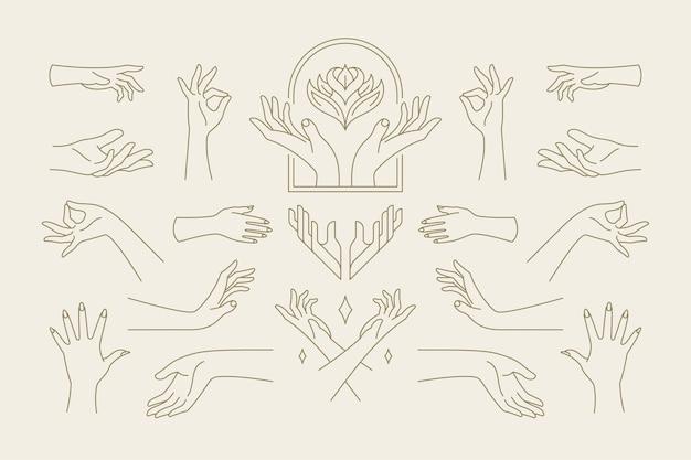 Raccolta di gesti di mani femminili di illustrazioni disegnate a mano in stile line art