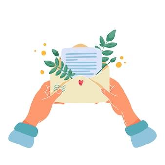 Mani femminili che tengono la busta con lettera o nota e bouquet di foglie e fiori gialli all'interno. illustrazione piana del fumetto per la cartolina d'auguri romantica o.
