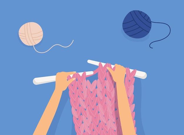 Mani femminili che lavorano a maglia illustrazione di fili di lana rosa
