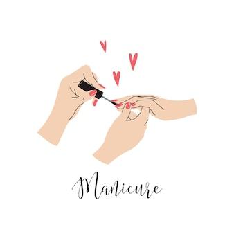 Mani femminili che dipingono e lucidano le unghie. concetto di manicure. scarabocchiare, vettore, illustrazione