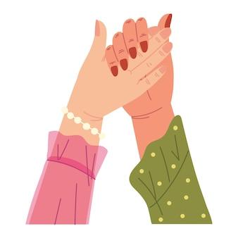 Mani femminili in alto insieme