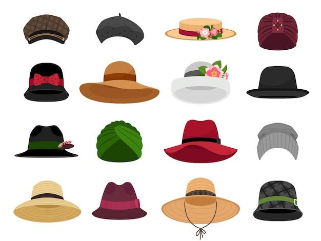 Cappelli e berretti femminili. illustrazioni vettoriali di cappello e berretto da donna per le vacanze, cofano e panama, tradizionali tipi di testa da donna, berretti alla moda e accessori per pannolini