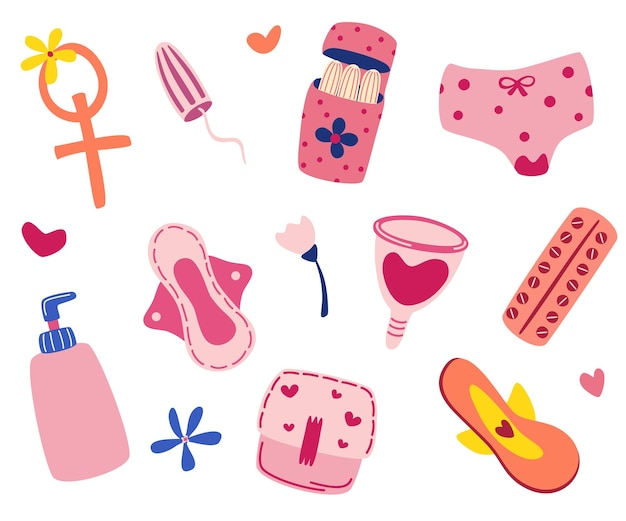 Articoli di prodotti per l'igiene femminile. ciclo mestruale. set di immagini disegnate a mano: coppette mestruali, tampone, contraccettivi, assorbenti, mutandine, cuori. elementi di illustrazione vettoriale per le mestruazioni isolate.