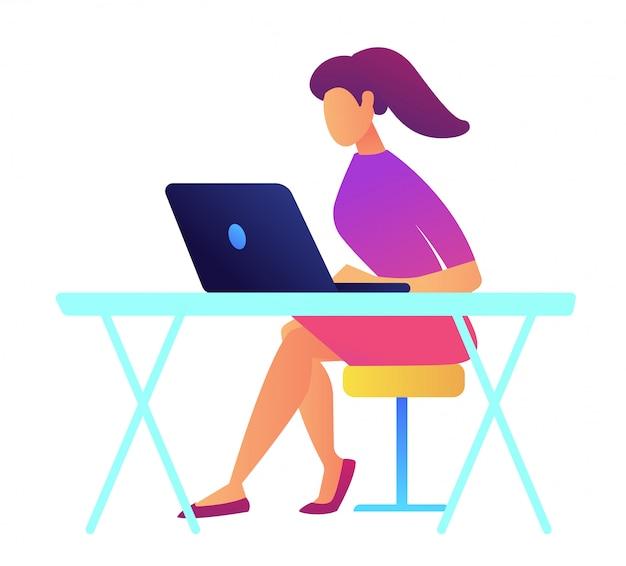 Specialista it femminile con la coda di cavallo che lavora all'illustrazione di vettore del computer portatile.