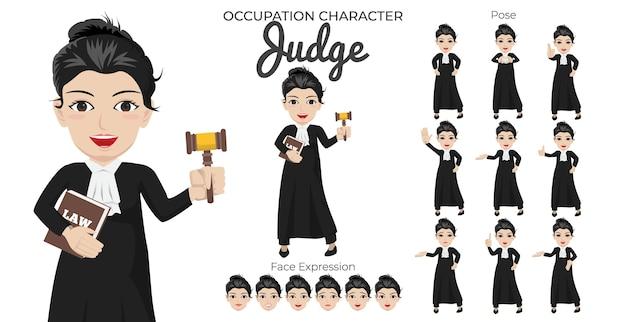 Set di caratteri del giudice femminile con varietà di pose ed espressioni del viso